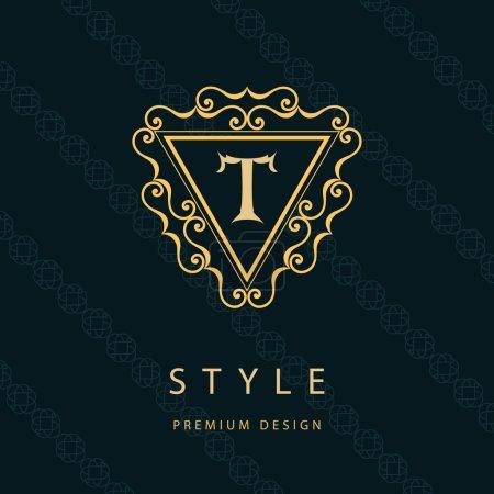 Monogram design elements, graceful template. Calligraphic elegant line art logo design. Letter emblem T. Business sign for Royalty, Boutique, Cafe, Hotel, Heraldic, Jewelry, Wine. Vector illustration