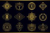 Vector Monogram design elements graceful template Calligraphic elegant line art logo design Gold Letter emblem M B R H T L for Royalty business card Boutique Hotel Restaurant Cafe