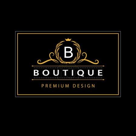 Illustration for Vector illustration of Monogram design elements, graceful template. Elegant line art logo design. Business sign, identity for Restaurant, Royalty, Boutique, Cafe, Hotel, Heraldic, Jewelry, Fashion - Royalty Free Image