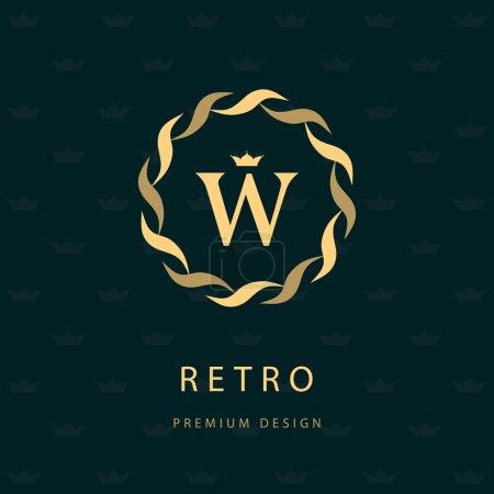 Illustration for Vector illustration of Monogram design elements, graceful template. Elegant line art logo design. Letter emblem W. Retro Vintage Insignia or Logotype. Business sign, identity, label, badge, Cafe, Hotel - Royalty Free Image