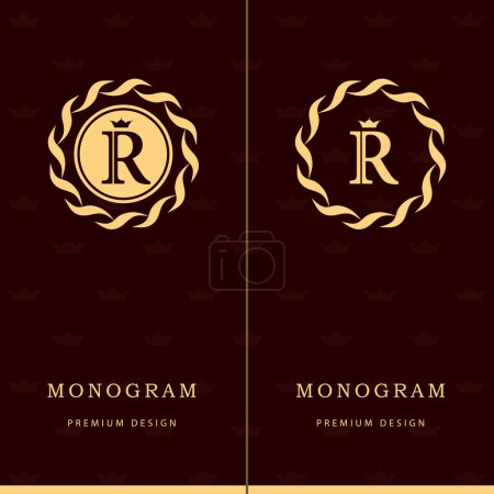 Illustration for Vector illustration of Monogram design elements, graceful template. Letter emblem sign R. Calligraphic elegant line art logo design for business cards, Royalty, Boutique, Cafe, Hotel, Heraldic, Jewelry. Vector illustration - Royalty Free Image