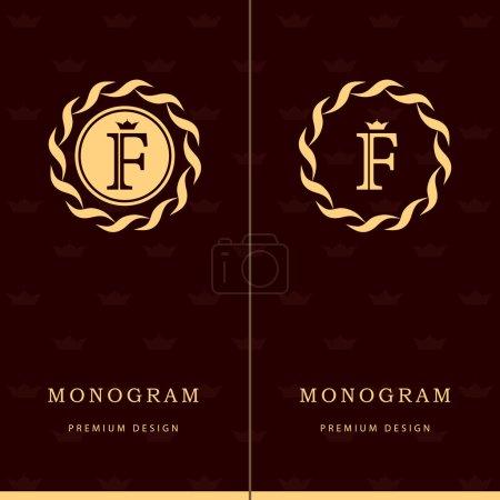 Monogram design elements, graceful template. Letter emblem sign F. Calligraphic elegant line art logo design for business cards, Royalty, Boutique, Cafe, Hotel, Heraldic, Jewelry. Vector illustration