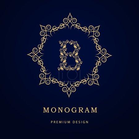 Monogram design elements, graceful template. Calligraphic elegant line art logo design. Letter emblem sign B for Royalty, business card, Boutique, Hotel, Restaurant, Cafe, Jewelry. Vector illustration