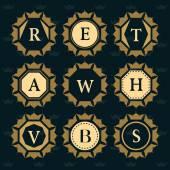 Monogram design elements graceful template Elegant line art logo design Set of Business sign Letter emblem H W A S B V E T R Vector illustration