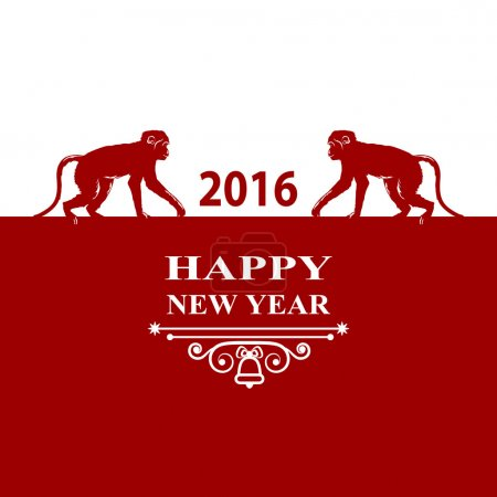 Happy New Year holidays 2016 Decorations Card. Silhouette monkey on red white background. Greeting card, invitation, brochure, flyer design and vintage ornament. Chinese zodiac Vector illustration