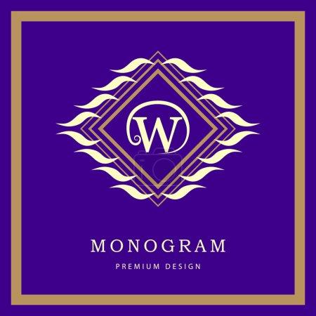 Monogram design elements, graceful template. Elegant line art logo design. Letter emblem W. Retro Vintage Insignia or Logotype. Business sign, identity, label, badge, Cafe, Hotel. Vector illustration