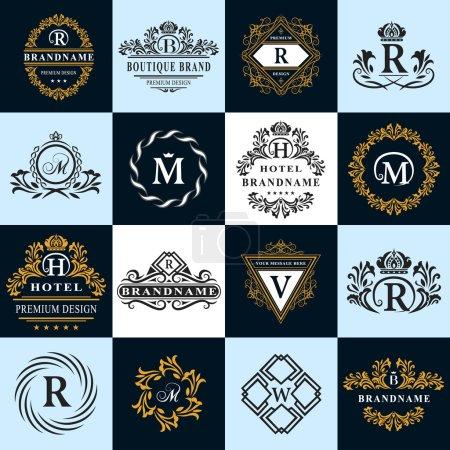 Elementos de diseño de monograma, plantilla elegante. Caligrafía elegante línea de diseño de logotipo de arte. Letra emblema signo R, B, M, H, V, W para Royalty, tarjeta de visita, Boutique, Hotel, Heráldico. Ilustración vectorial