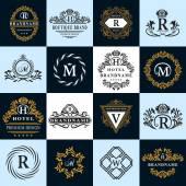 Monogram design elements graceful template Calligraphic elegant line art logo design Letter emblem sign R B M H V W for Royalty business card Boutique Hotel Heraldic Vector illustration