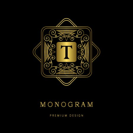 Monogram design elements, graceful template. Calligraphic elegant line art logo design. Letter emblem sign T for Royalty, business card, Boutique, Hotel, Heraldic, Cafe, Jewelry. Vector illustration