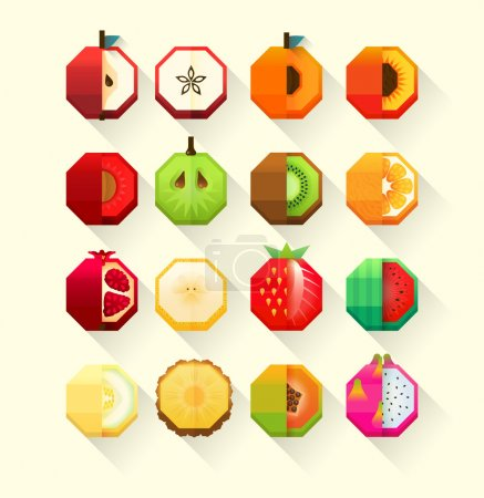 Summer fruits stylized collection. Flat Material design fruit icon set with feeling of spatial.
