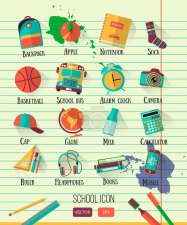 Vector school workspace illustration on line notebook paper. Education school icons set. Flat style, long shadows. High school object college items. Back to school creative  card with teenager objects