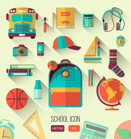 School workspace. Set of school icons in flat style with long shadows. Vector collection of high school object, college education items with educational elements. Back to school. Interests teenager