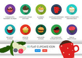 Flat cupcake icon Vector application food set Food icons With ice cream Chocolate cupcake Blueberry muffin In a mug Carrot cake Red velvet Apple pie Hamburger Hot chili Vanilla rose cake