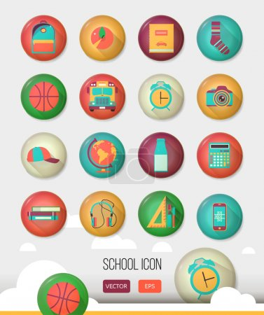Vector school workspace. Three dimensional education and school icons set. Flat style, long shadows. High school object, college items. Back to school. Creative button with  teenager objects.