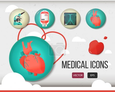 Vector health care and medical icon set. Colorful glossy badge, sphere icon. X-ray, microscope, blood bag, human heart. Stylish buttons for medical sites, three-dimensional signs, design elements.