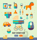 Vector illustration baby shower icon for invitation template web design Flat style