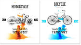 Vector card design with bicycle motorcycle logo For repair rent or pictures for printing on T-shirts