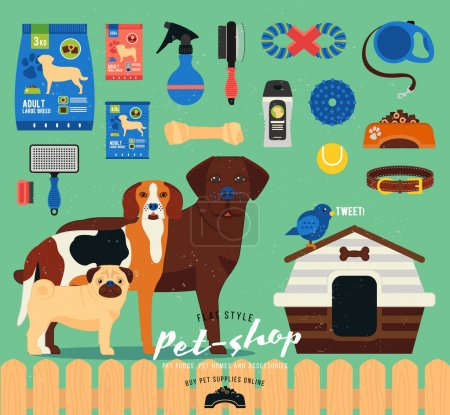 Pet shop set. Grooming icons set. Flat  illustration of accessories, toys, goods for care of pets. Stylized dog breed: pug, labrador, beagle
