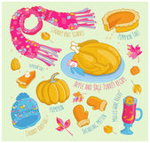 Vector hand drawn autumn set in color Winter things and elements sketch style Festive dishes for Thanksgiving Day