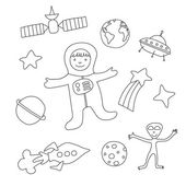 Set of cartoon baby items on the theme of outer space coloring