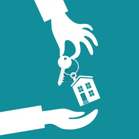 Hand real estate agent holding holds a key