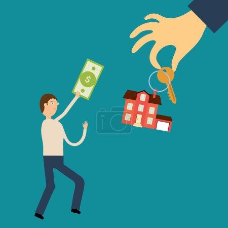 Illustration pour Concept vectoriel dans le style plat - L'homme avec le billet à la main court à la main tenant la clé et l'étiquette dans la maison. Vente de biens immobiliers. Demande et offre - image libre de droit