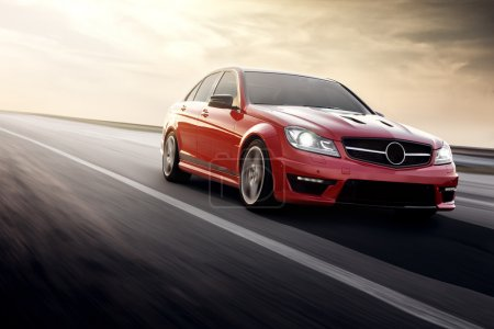 Photo for Sport car speed drive fast on road merdedes benz c63 amg 507 - Royalty Free Image