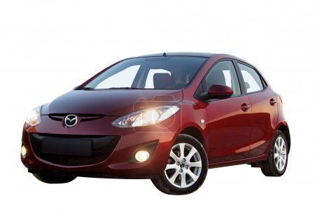 Red car Mazda 2 isolated