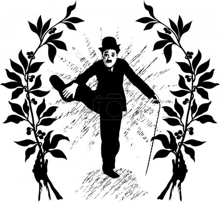 Illustration for Vector illustration of performing Charlie Chaplin - Royalty Free Image