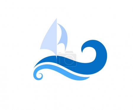 Illustration for Vector drawing of sailboat on the waves. Symbols, logo and icon. - Royalty Free Image
