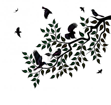 Flock of birds sits on branch of tree