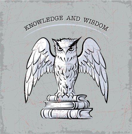 Illustration pour Croquis vectoriel de hibou stylisé, qui se trouve sur les livres - image libre de droit