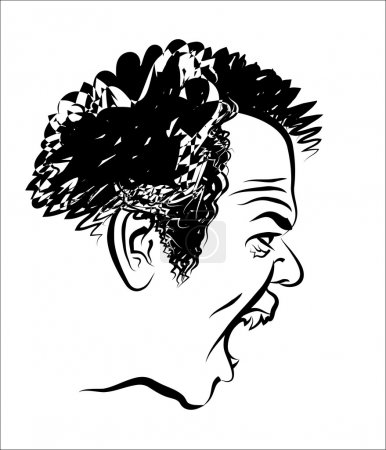 Illustration for Vector drawing of the man's head which spitefully shouts. - Royalty Free Image