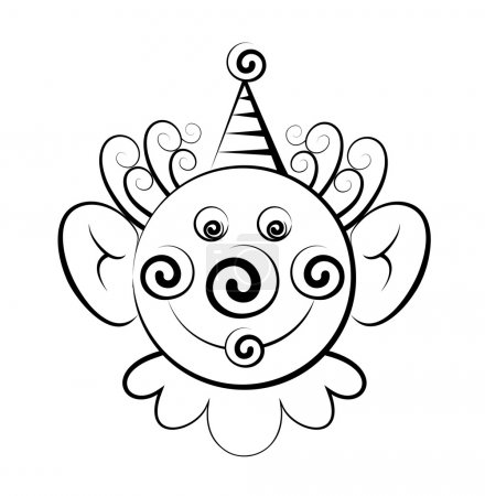 Illustration for Black and white vector drawing of the head of the clown. Positive face of the man - Royalty Free Image