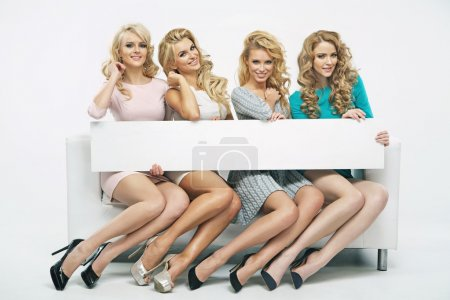 Four fantastic girls with thin board