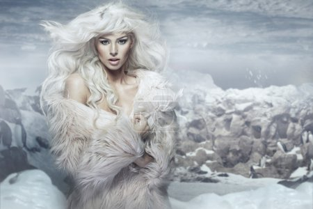 Snow queen on the ice island