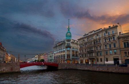 St. Petersburg view of the red bridge