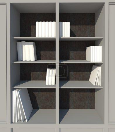 Shelf with white books