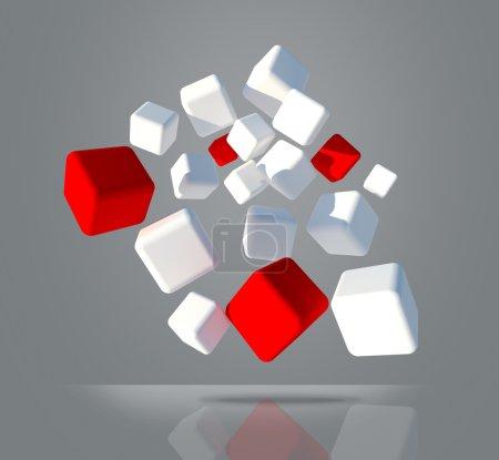 weiße und rote Würfel