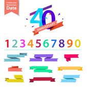 Vector set of anniversary numbers design Create your own icons compositions with ribbons dates and sunbursts  Colorful retro collection