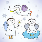 Vector set of hand drawn colorful cute angels: sitting on the cloud with magic stick and playing music Can use it for holiday cards web brochures as icons etc
