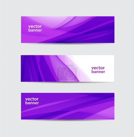 Illustration for Vector set of abstract horizontal purple wavy flowing silk banners - Royalty Free Image