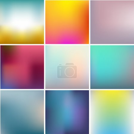 Illustration for Vector set of abstract colorful unfocused backgrounds - Royalty Free Image