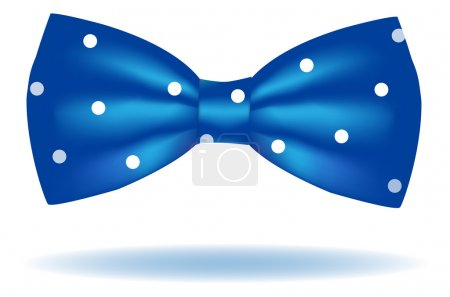 Illustration for Vector blue bow tie icon in polka dot isolated on white background. Hipster style - Royalty Free Image