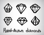 Vector set of hand-drawn diamond icons logos isolated