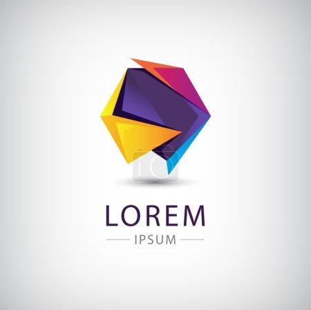 Illustration pour Vecteur abstrait origami coloré icône 3d, logo isolé - image libre de droit