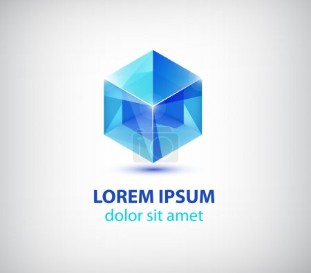 Blue crystal cube icon