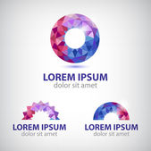 Vector abstract circle round crystal colorful icons logo set isolated