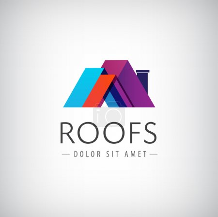 Illustration for Vector roofs, house icon, logo isolated - Royalty Free Image