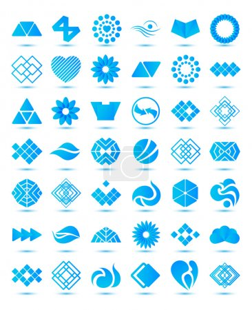 Illustration for Set of vector various geometrical abstract icons, signs, symbols, logos collection with shadows isolated - Royalty Free Image